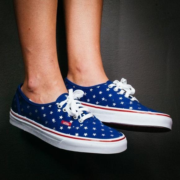 234d47810d VANS 🆕 Authentic Blue Studded Stars Canvas Shoes